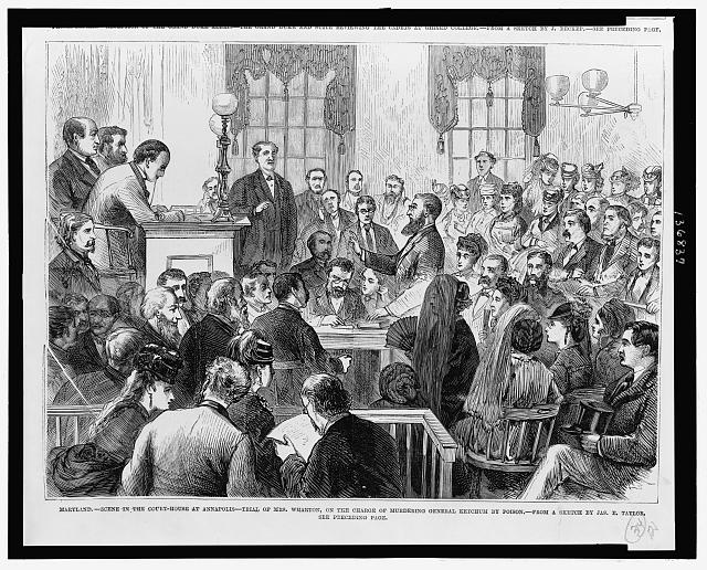 Scene in a crowded courtroom.