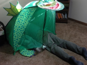 Playing in a tent
