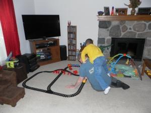 Roughhousing while play trains