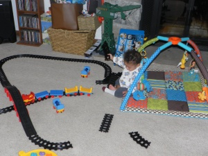 baby tearing up railroad tracks