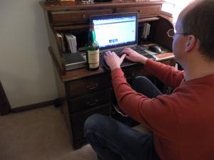 writing blog at computer