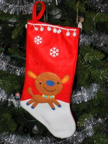 stocking hanging on tree