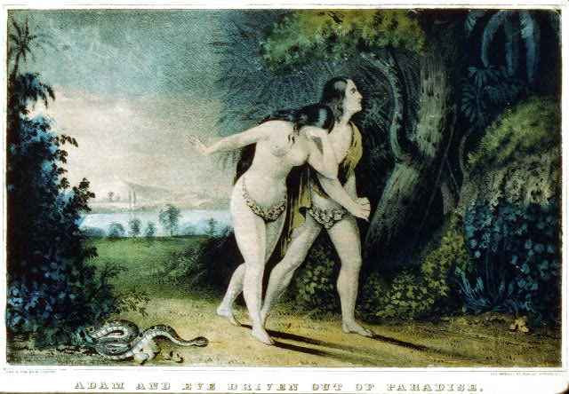 Adam and Eve Currier and Ives lithograph