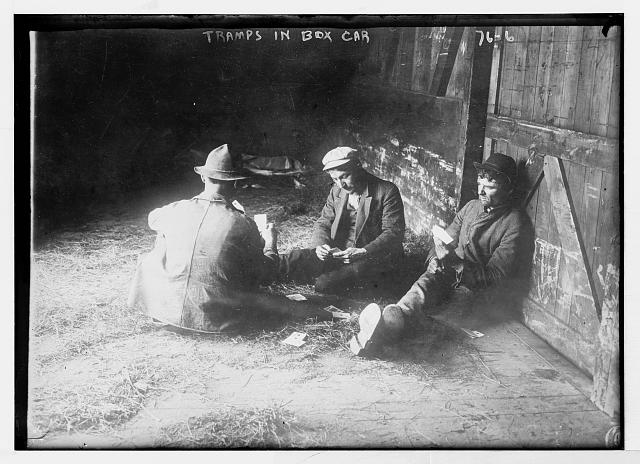playing cards on boxcar