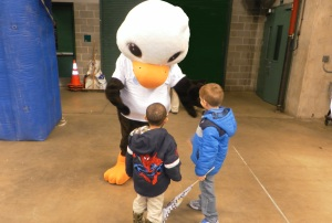 boys visit big chicken