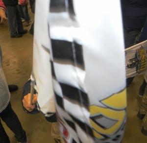 waving flag into camera