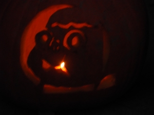 Last year's jack-o-lantern, because there is no image of this year's jack-o-lantern yet.